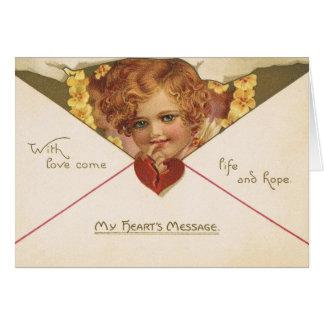 ビクトリアンな天使のバレンタインデーカード カード