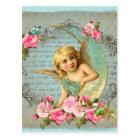 ビクトリアンな天使のヴィンテージの青いローズピンクのアンティーク ポストカード