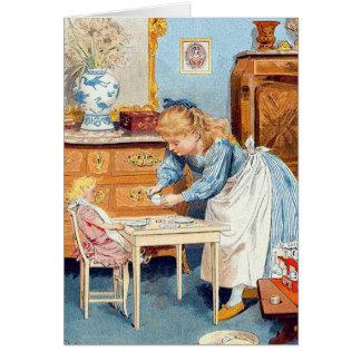 ビクトリアンな女の子のすべての行事のカスタムな挨拶状 グリーティングカード