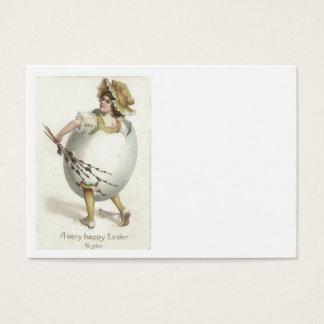 ビクトリアンな女の子のイースターエッグの衣裳の黄色 名刺