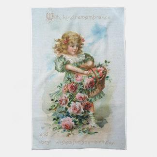 ビクトリアンな女の子のバラの誕生日のアンティークタオル キッチンタオル