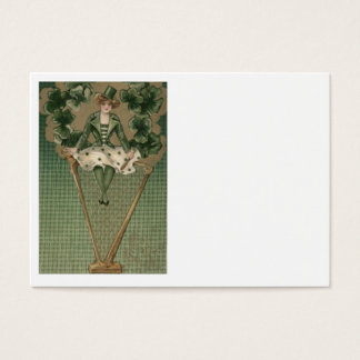 ビクトリアンな女性のハープのシャムロックの緑のシルクハット 名刺