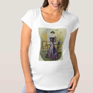 ビクトリアンな女性ヴィンテージのフランスのでファッション黄色い服 マタニティTシャツ