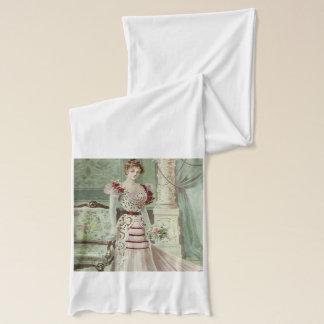 ビクトリアンな女性ヴィンテージのフランス人のファッション-ピンクの服 スカーフ
