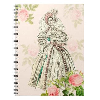ビクトリアンな女性19世紀なファッションのノート ノートブック