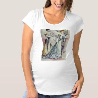 ビクトリアンな女性-ヴィンテージのフランスのでファッション青い服 マタニティTシャツ