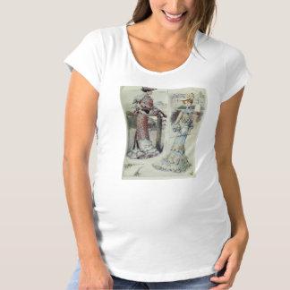 ビクトリアンな女性-ヴィンテージのフランスのな方法青い服 マタニティTシャツ