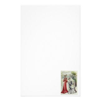 ビクトリアンな女性-ヴィンテージのフランス人のファッション-赤い服 便箋