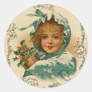 ビクトリアンな女性Holidayのクリスマスのステッカー ラウンドシール