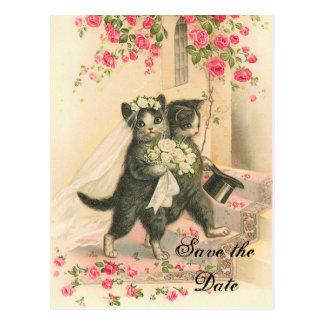 ビクトリアンな子ネコの結婚式の保存日付 ポストカード