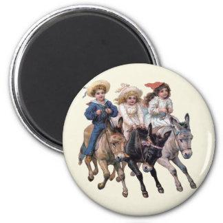 ビクトリアンな子供および馬 マグネット