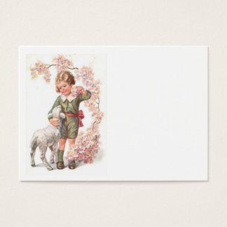 ビクトリアンな子供の子ヒツジの桜 名刺