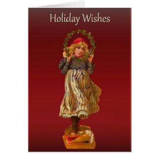 ビクトリアンな小作農の女の子の挨拶 カード