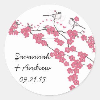 ビクトリアンな愛鳥の桜の結婚式のステッカー ラウンドシール