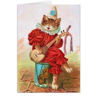 ビクトリアンな猫の吟遊詩人のセレナーデのバレンタイン カード