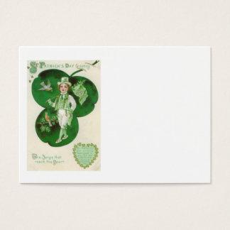 ビクトリアンな男の子のシャムロックのアイルランドの旗の鳥 名刺
