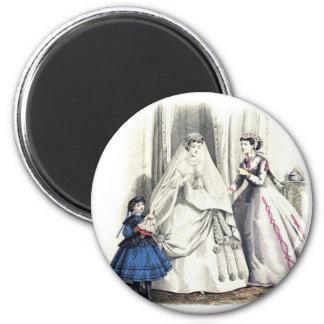 ビクトリアンな結婚式1の円形の磁石 冷蔵庫用マグネット