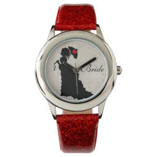 ビクトリアンな花嫁-赤いグリッターの腕時計 腕時計