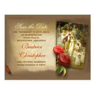ビクトリアンな芸術のカップルのアンティークの保存日付 はがき