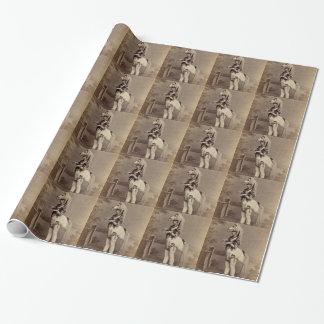 ビクトリアンな馬の衣裳の銀板写真か写真 ラッピングペーパー