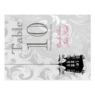 ビクトリアンな鳥かごの結婚式のテーブル数カード ポストカード
