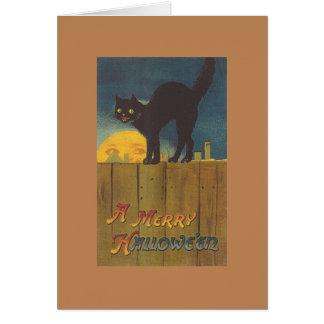 ビクトリアンな黒猫のHallowe'enの挨拶状 グリーティングカード