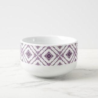 ビクトリア時代の人によってインスパイア紫色のフラクタルのダイヤモンドのデザイン スープマグ