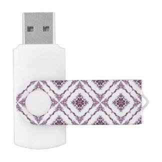 ビクトリア時代の人の刺激を受けたな紫色のフラクタルのダイヤモンドパターン USBフラッシュドライブ