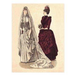 ビクトリア朝の婚礼衣裳 葉書き