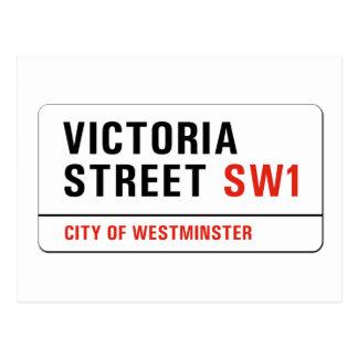 ビクトリア通り、ロンドンの道路標識 ポストカード