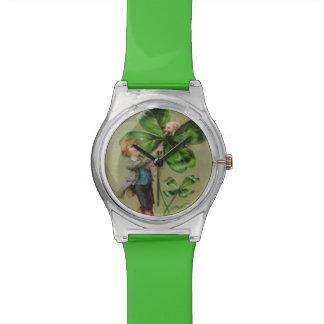 ビクトリア4匹の葉のクローバーのブタのブタ 腕時計