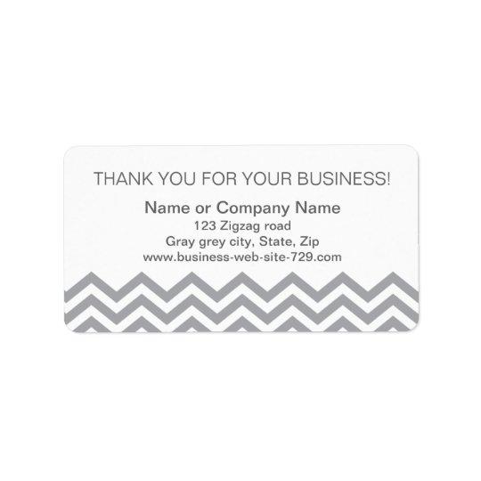 ビジネスは住所シール、灰色のシェブロン感謝していしています ラベル