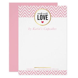 ビジネスは愛ピンクのシェブロンと作りました感謝していしています 8.9 X 12.7 インビテーションカード