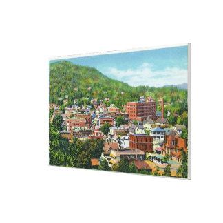 ビジネスセクションの湖の通りの丘の眺め キャンバスプリント
