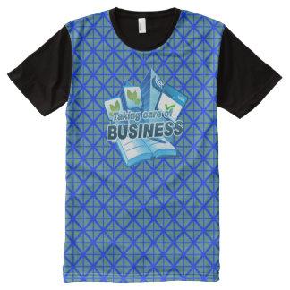 ビジネス青の心配にすべての印刷されたTシャツを取ります オールオーバープリントT シャツ
