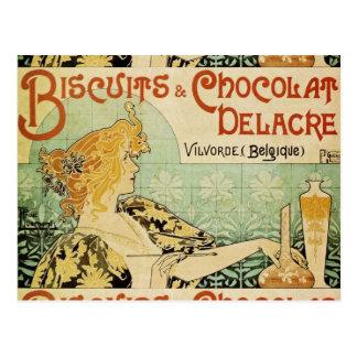 ビスケットおよびChocolat Delacre ポストカード