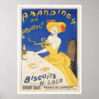 ビスケットのAmandinesのヴィンテージの食糧広告の芸術 ポスター