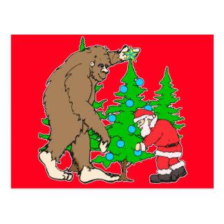 ビッグフットおよびサンタのクリスマス ポストカード