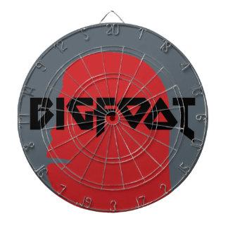 ビッグフットおよび文字の-赤くおよび黒いステンシルは直面します ダーツボード