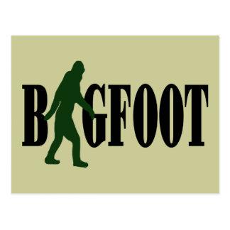 ビッグフットの文字及び緑のsquatchのグラフィック ポストカード