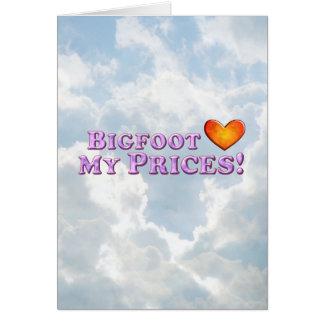 ビッグフットは基本私の価格を-愛します グリーティングカード