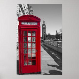 ビッグベンの赤い電話ボックス ポスター