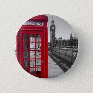 ビッグベンの赤い電話ボックス 5.7CM 丸型バッジ