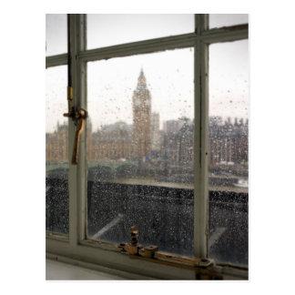 ビッグベン-ロンドンの郵便はがきの雨の日の意見 ポストカード