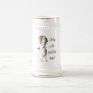 ビットはワインを飲みます-よりよく感じます! おもしろいなワインのギフト ビールジョッキ