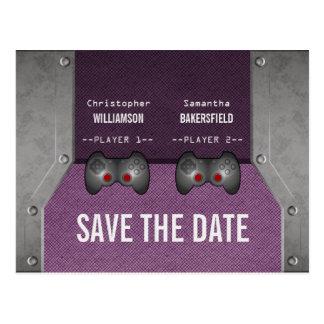ビデオゲームの保存紫色日付の郵便はがき ポストカード