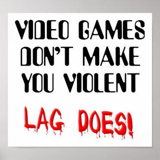 ビデオゲームの遅延時間の暴力のおもしろいな印ポスター ポスター
