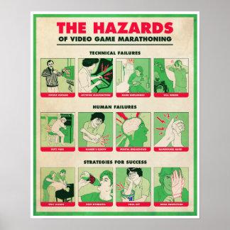 ビデオゲームMARATHONINGポスターの危険 ポスター