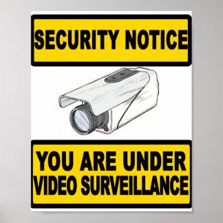 ビデオ監視の保証通知の印ポスター ポスター