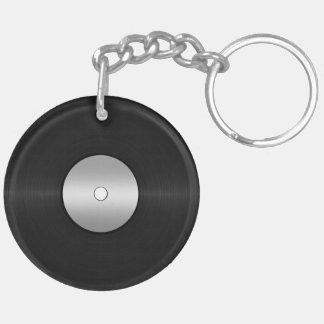 ビニール一見LPの記録 丸型(両面)アクリル製キーホルダー